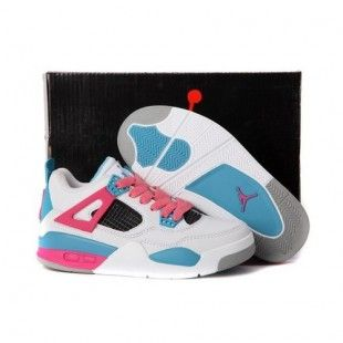 new concept 6c9f6 61e3d Air Jordan Retro 4 IV Kids Shoes White/Pink 1002 ...