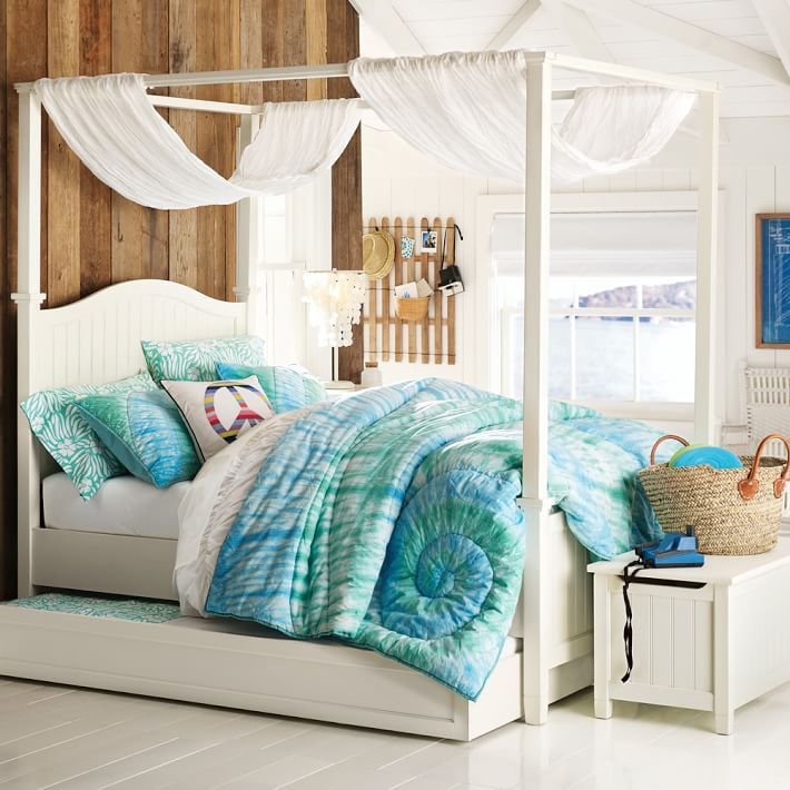 Beadboard Canopy Bed + Trundle & Beadboard Canopy Bed + Trundle | Zadieu0027s Bedroom Design Ideas ...