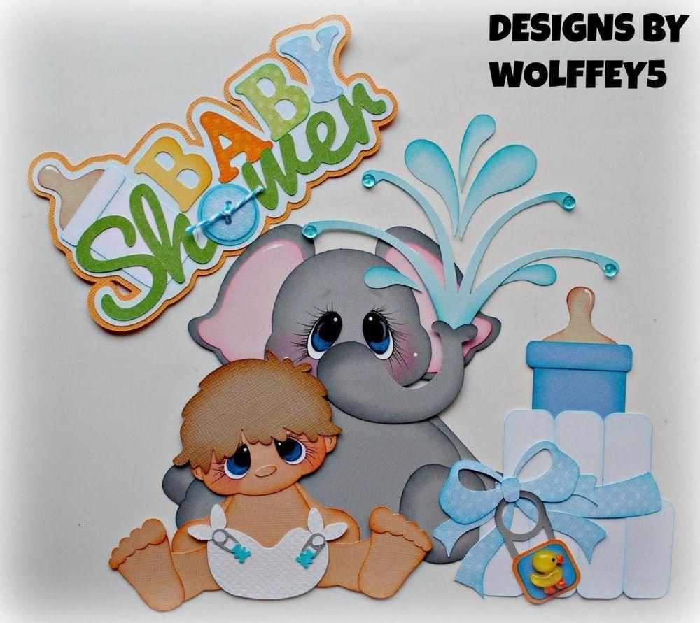 ELITE4U BABY SHOWER BOY paper piecing premade scrapbook page album ...