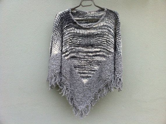 Hand knitting warm poncho for girl with beautiful von ewairena