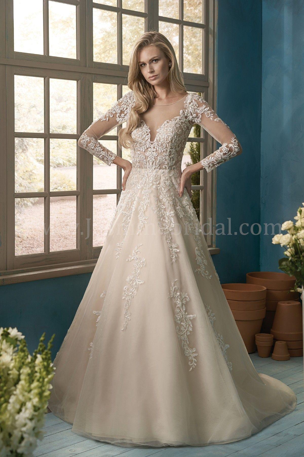 Jasmine collection illusion sleeves long sleeve wedding dress