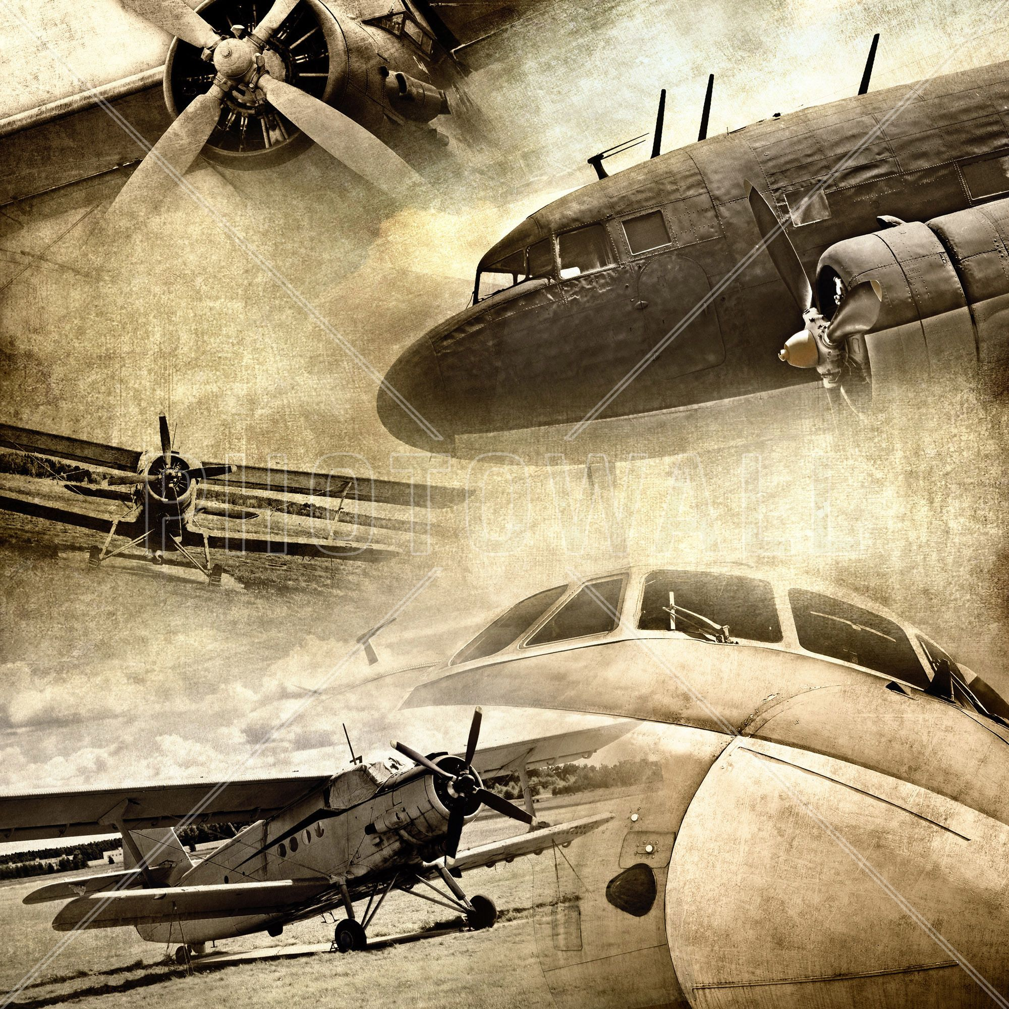Retro Airplanes - Wall Mural & Photo Wallpaper - Photowall | We\'re ...