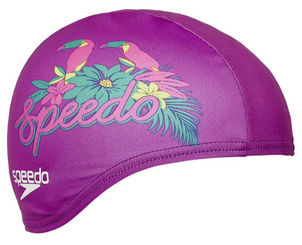 d4f7db2934ee96 Speedo Printed Polyester Junior Cap Polyester Pink 8-08768b658 Swim hats