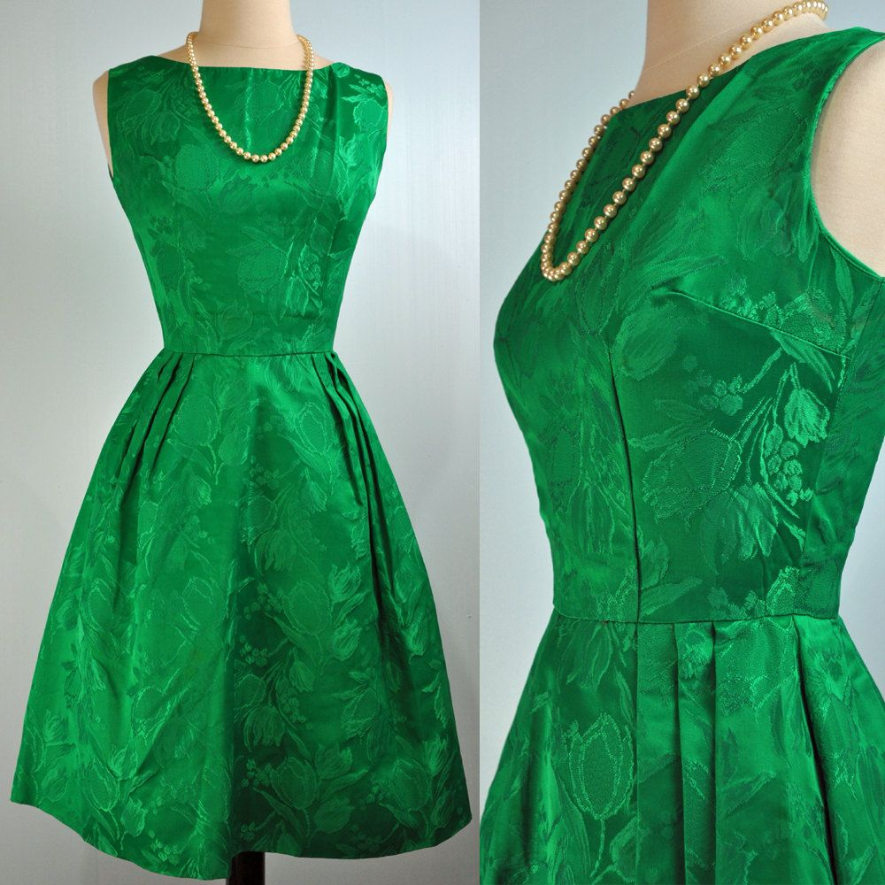 50s PARTY dress - vintage Mad Men EMERALD green dress 50s cocktail ...