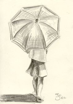 Chica Con Paraguas 4 X 6 Estudio A Lapiz Boceto Pinterest