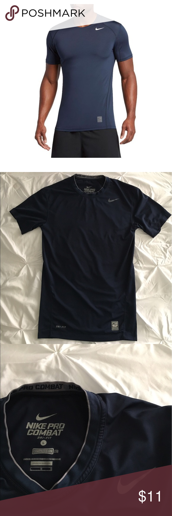 8d61c0da Nike Pro Combat Compression Shirt, Size Large Nike Pro Combat Compression  Shirt, Size Large. Dri - Fit. Navy Blue. Used in good condition!