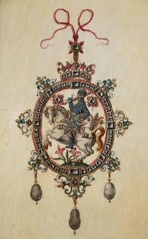 Joyas libro de Jacob Mores   Hamburgo, 1593-1602   pergamino y papel de escritura a mano - 82 hojas - 35 x 24 cm (Bl 11: 22,2 x 105 cm / 29 Bl: 8 x 88 cm)