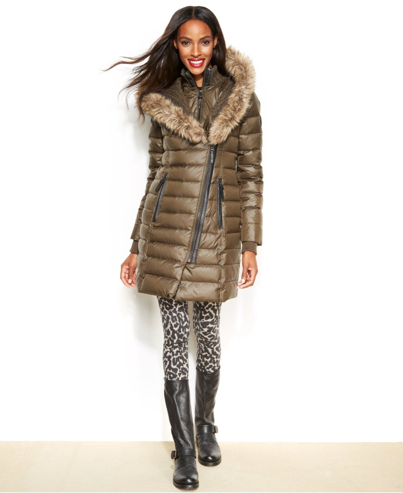 Rud Styled By Rudsak Faux Fur Trim Puffer Down Coat