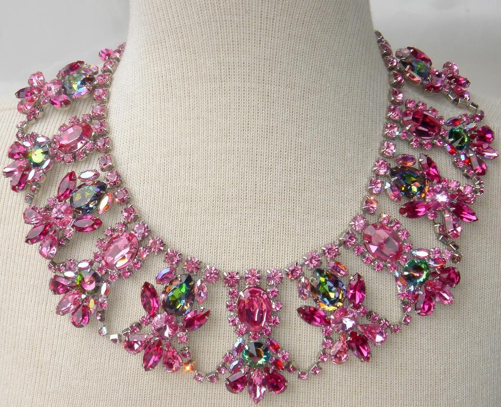 """Pink Ice"" Swarovski Rose & Watermelon Rhinestone Festoon Necklace"
