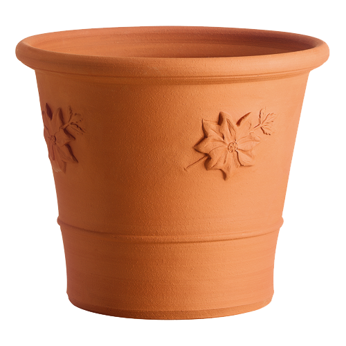 Clematis Pot - If you are short of space to grow a clematis in your garden, one of our terracotta flowerpots is the ideal clematis container, thick enough to protect the plants from cold in the winter and to keep the roots cool. This design is the perfect shape and is decorated with a clematis motif. We suggest you consult your local nursery about which varieties are suitable for pot growth.