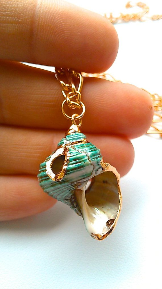 Teal Snail Shell Necklace Laced with Liquid Rose Gold MALIBU