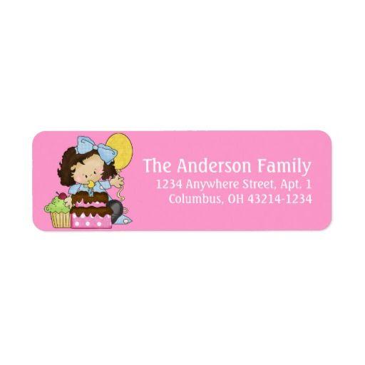 Little Girl Birthday Party d2 Return Address Label