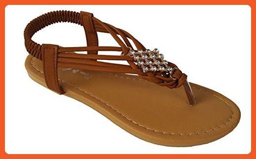 e6b7d390b Elegant Women s Fashion Camel Color Gladiator Thong Flat Cute Sandals With Rhinestones  Camel 9