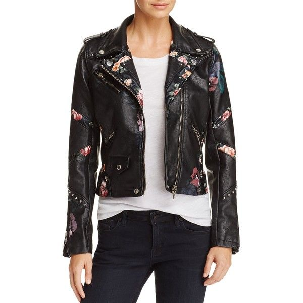 Blanknyc Floral-Inset Faux Leather Moto Jacket - 100% Exclusive ($165) ❤