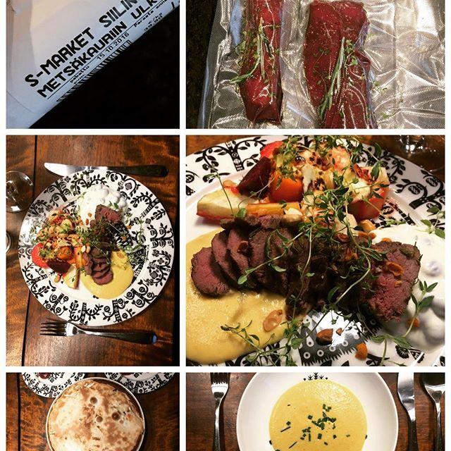 """Kotikeittämön menu tänään """"Kauden kasvikset & sous vide bambi"""" Alkuun pehmeä myskikurpitsakeitto, pääruoaksi paahdettu juuressalaatti leipäjuuston kera, metsäkauriin ulkofileetä, karpalojogurttia sekä kurpitsapyreetä. Jälkiruoaksi Bombe Alaska eli suklainen jäätelöyllätys marengissa. Nyt lähti taju ja nälkä :) #instafood #foodporn #sousvide  Yummery - best recipes. Follow Us! #foodporn"""