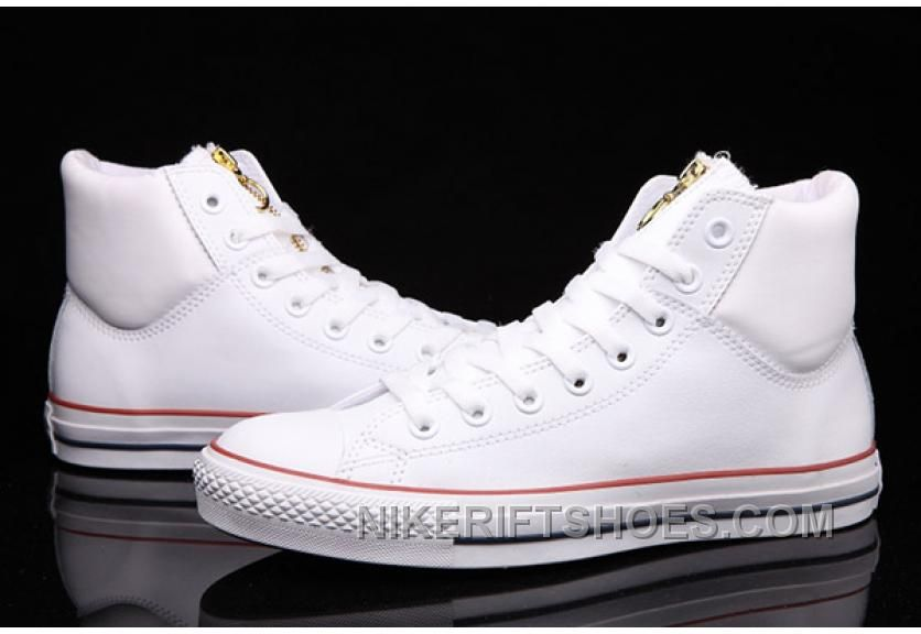 White CONVERSE Chuck Taylor Embroidery Padded Collar Leather