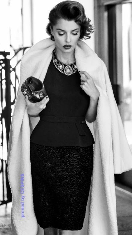 552e2799f92f Gorgeous!! she s very timeless in black and white fashion with statement  necklace - - classic and timeless style!