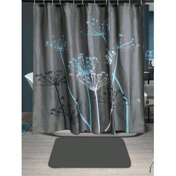Dandelion Print Waterproof Shower Curtain