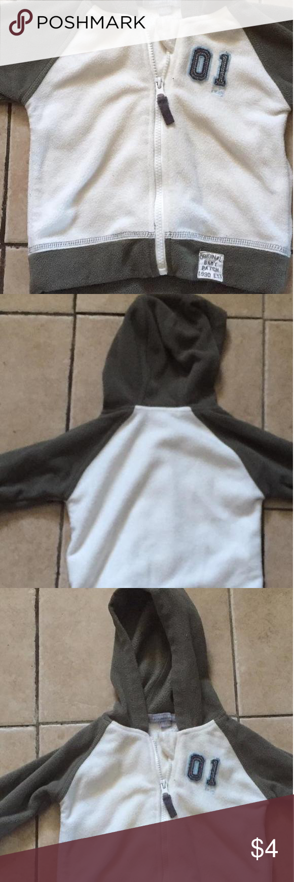 Pumpkin Patch Boys 12-18 Mos. Grey and White Hoodie In excellent condition, this Pumpkin Patch hoodie was only worn a couple of times. Safely stored in pet free smoke free home. Pumpkin Patch Shirts & Tops