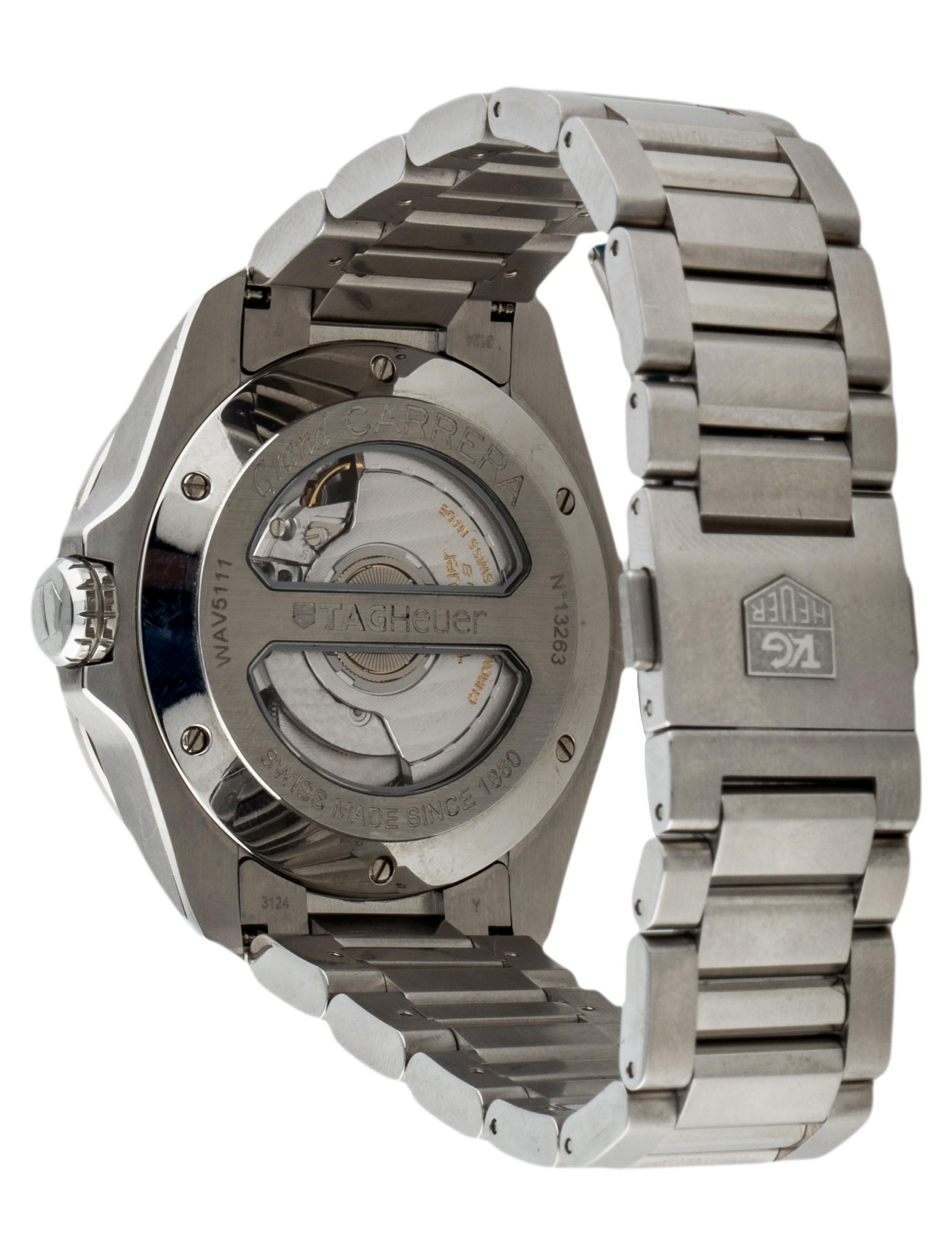 Tag Heuer Grand Carrera Calibre 8 Watch Caliber Stainless Steel Link Bracelet Tag Heuer
