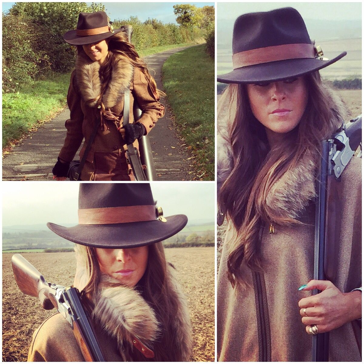 dc2e57bca Holland Cooper tweed and fur capes spotted out on the shooting field ...