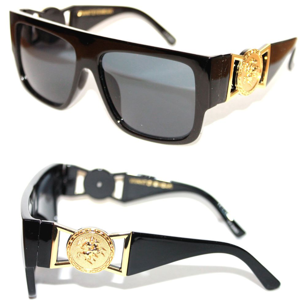 9fa13d9c839 424 Medusa Gold Metal Logo Coin Flat Top Sunglasses Metal Retro Black Hip  Hop  Unbranded  FlatTop