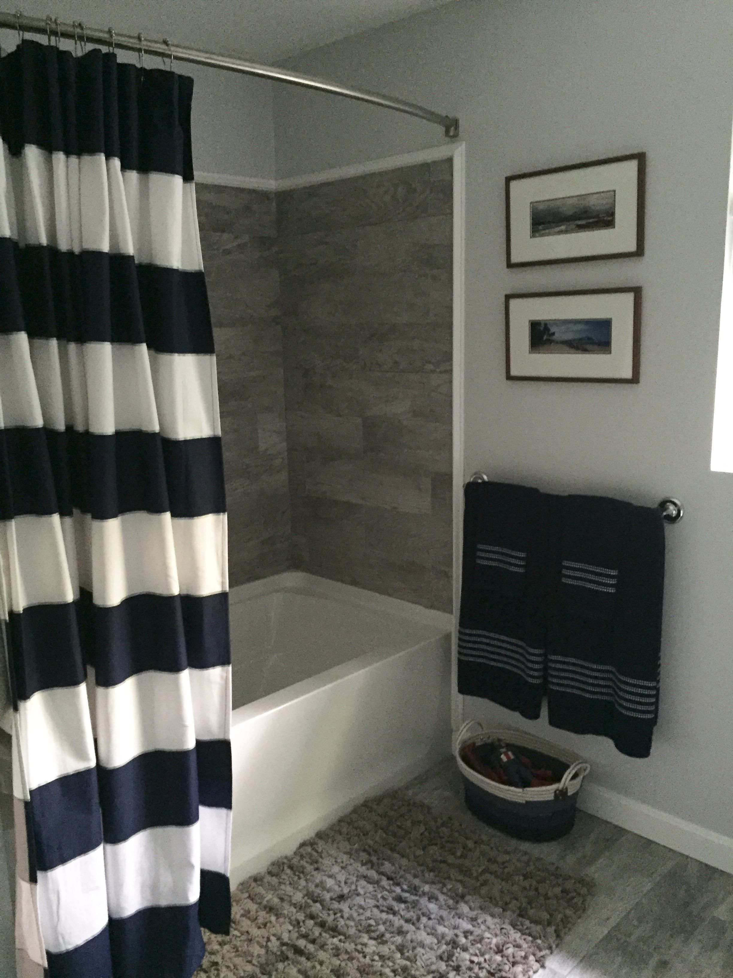 Navy Grey And White Bathroom Bathroom Remodel Grey Faux Wood Tile Striped Shower Curtain