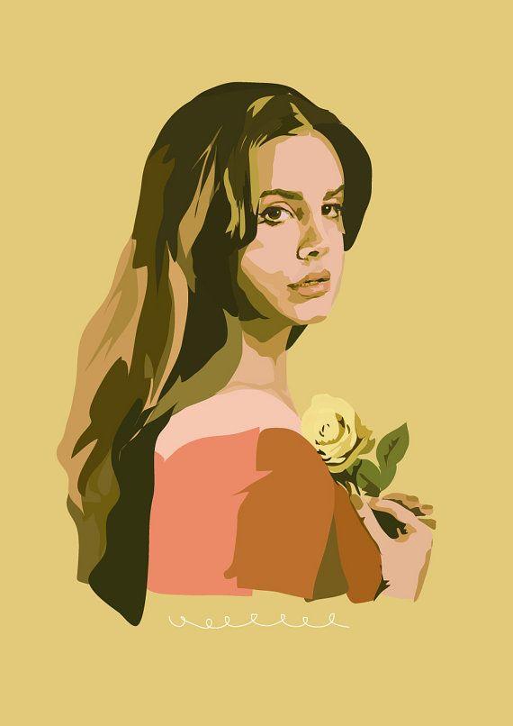 Lana Del Rey With Rose Art Print Lana Del Rey Art Lana Del Rey Celebrity Drawings