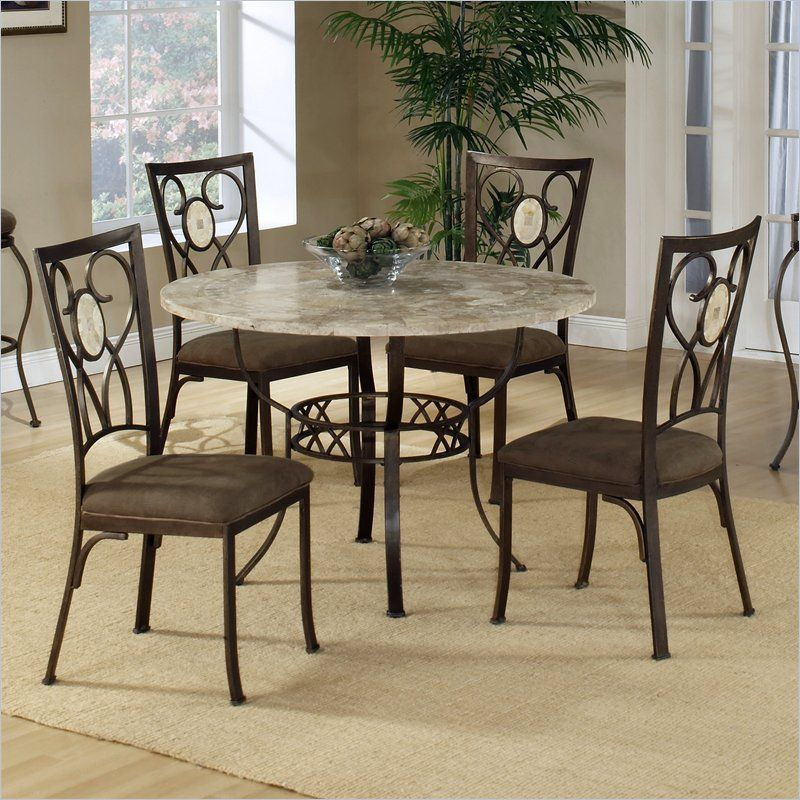 Hillsdale Brookside Round Fossil Table With Oval Back Chairs 5
