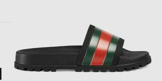 a9ca1ca4 Gucci Pursuit 72 black multi 11 stripe rubber pool slide sandal UK10 ...