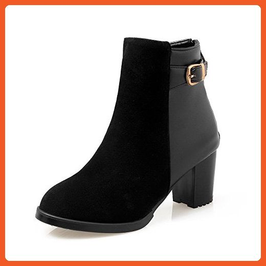 Women's Solid Low-Heels Round Closed Toe Imitated Suede Buckle Boots Black 37