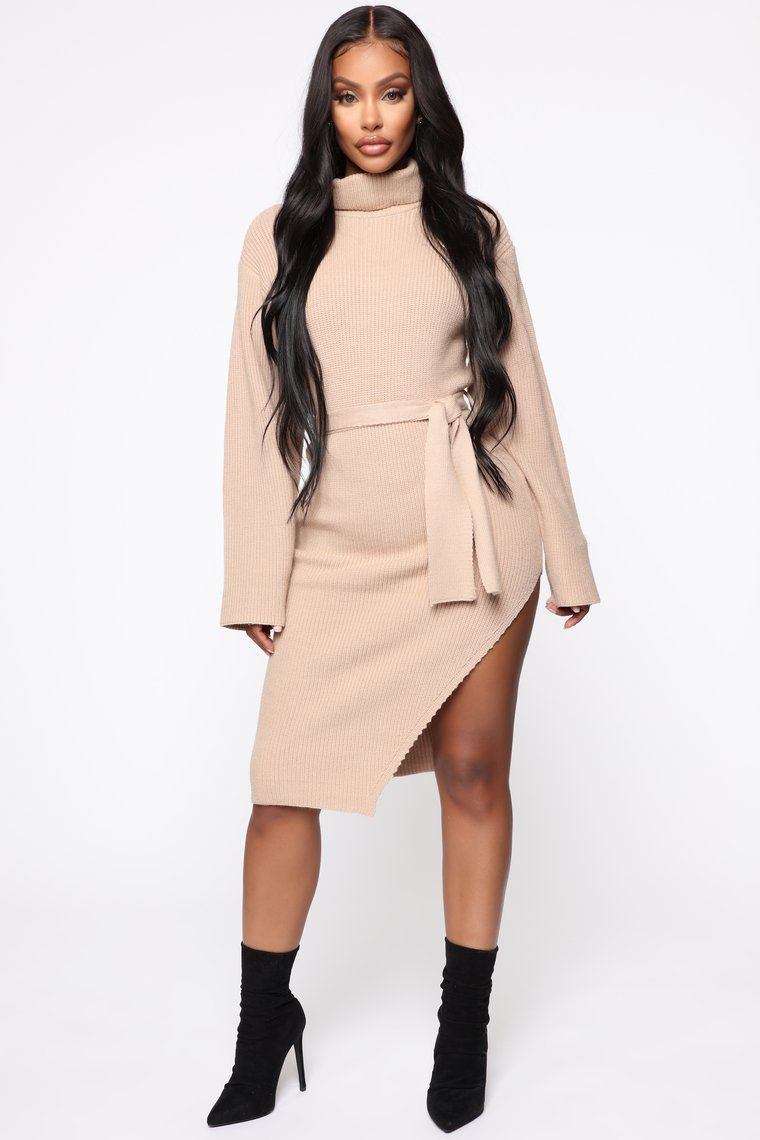Feeling you sweater midi dress taupe in 2020 dresses