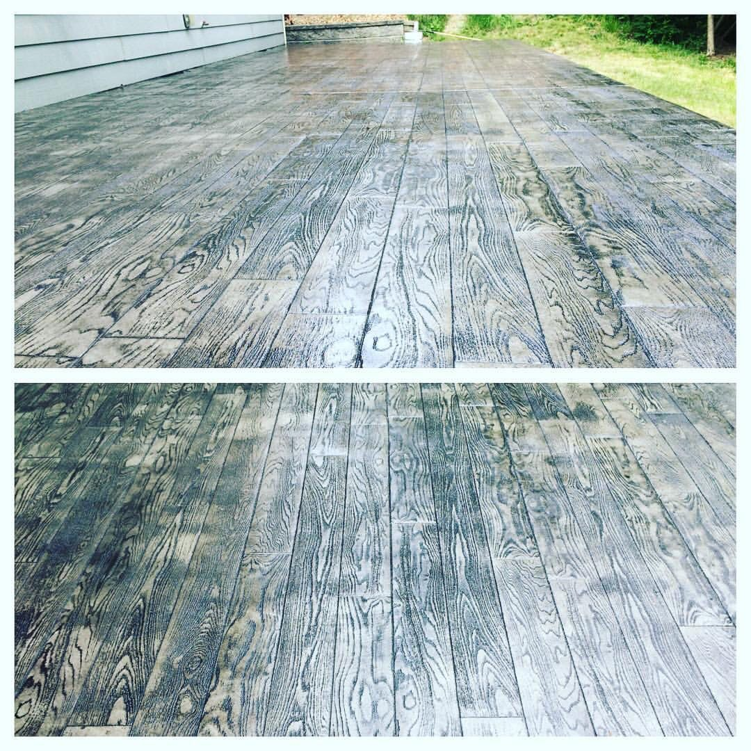 My New Wood Plank Concrete Stamped Patio!