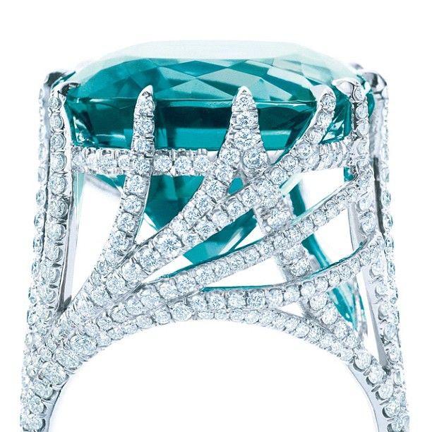 Tiffany Co Screen Gem Tiffany Peacock Ring With A Cushion Cut Blue