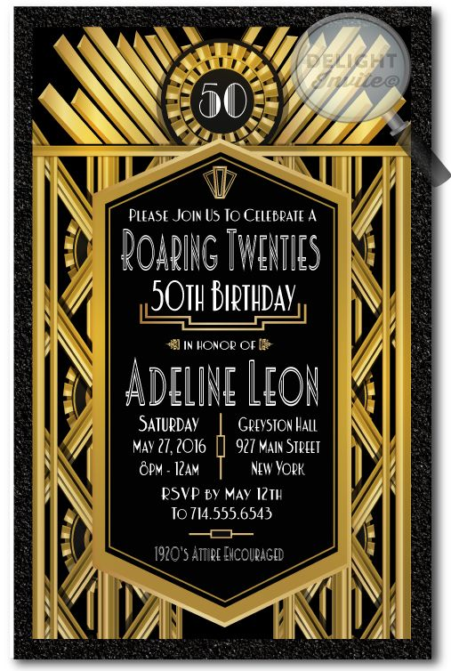 art deco roaring 20 s gatsby 50th birthday party invitations