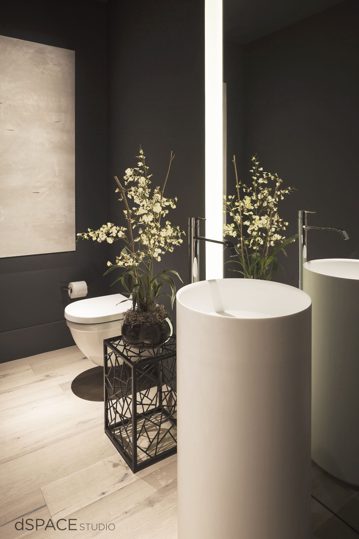 Beautiful Modern Powder Room, Oak Flooring, LED Lighting, free standing pedestal basin