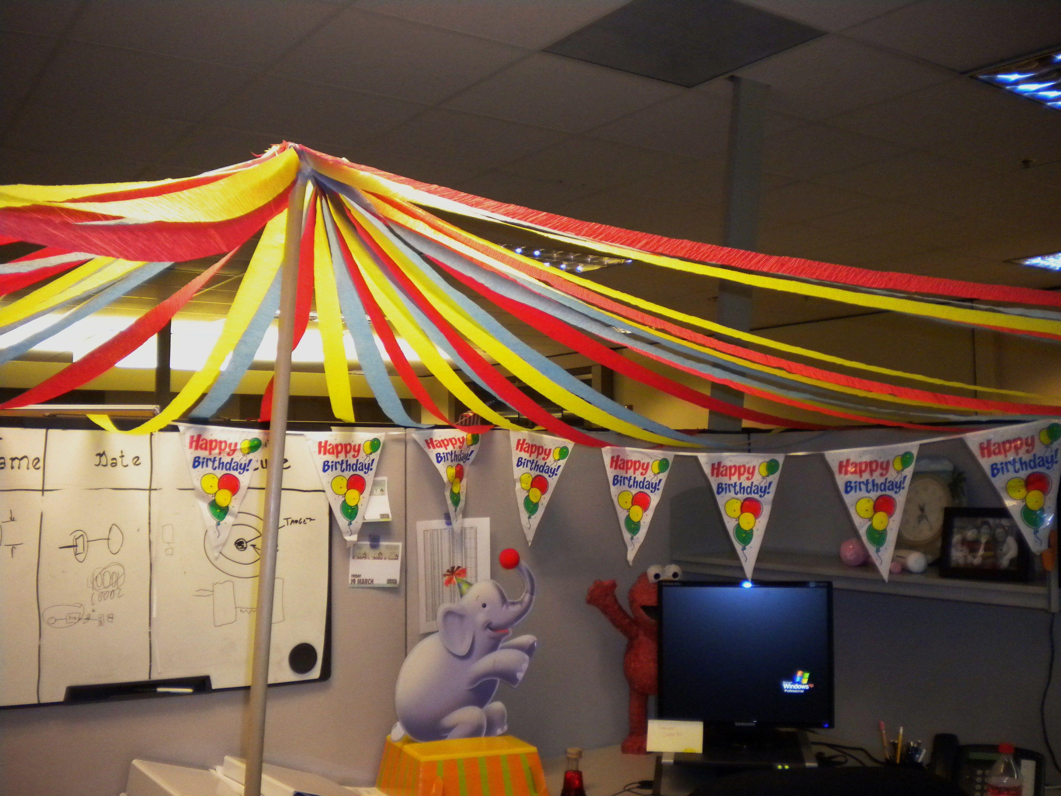 big top circus theme cubicle decorating