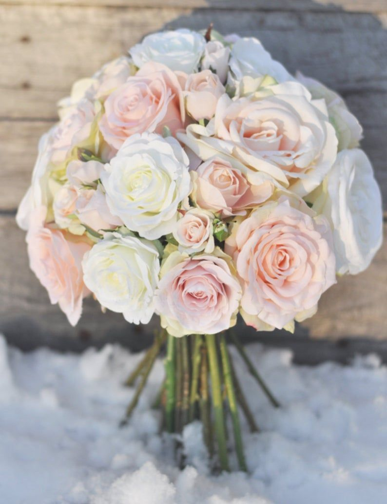 Pink Bouquet, Bridal Bouquet, Wedding Flowers, Wedding Bouquet, Bridal Flowers, Blush Roses, Pink Roses, Rose Bouquet, Silk Flower Bouquet.