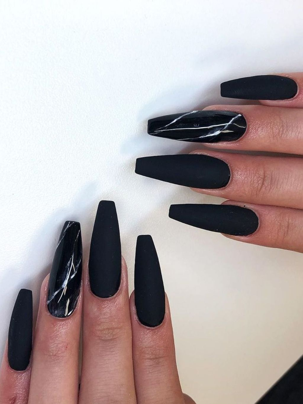 40 Stunning Matte Black Nail Ideas For You To Try Asap In 2020 Black Marble Nails Black Acrylic Nails Long Acrylic Nails Coffin