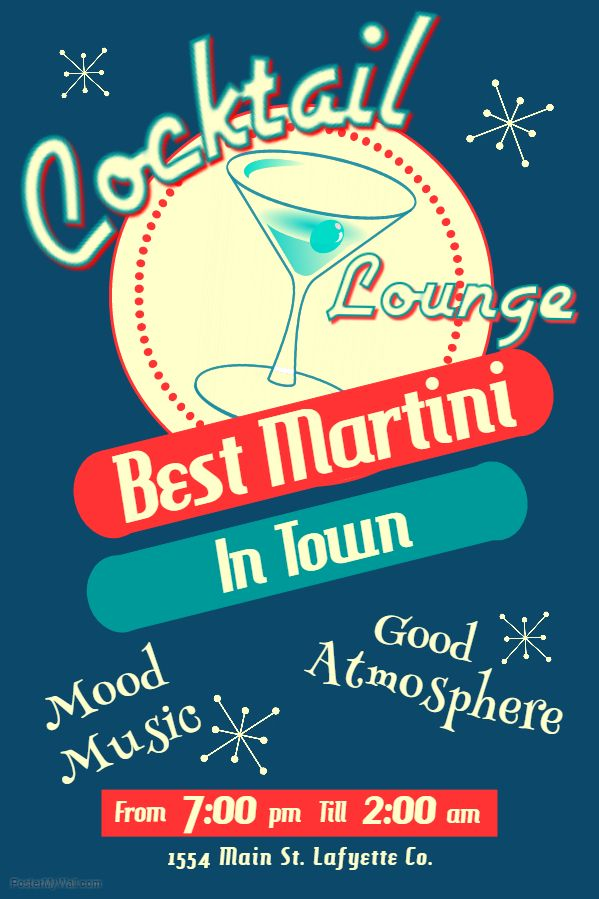 Vintage Cocktail Lounge Flyer Template. Click On The Image To