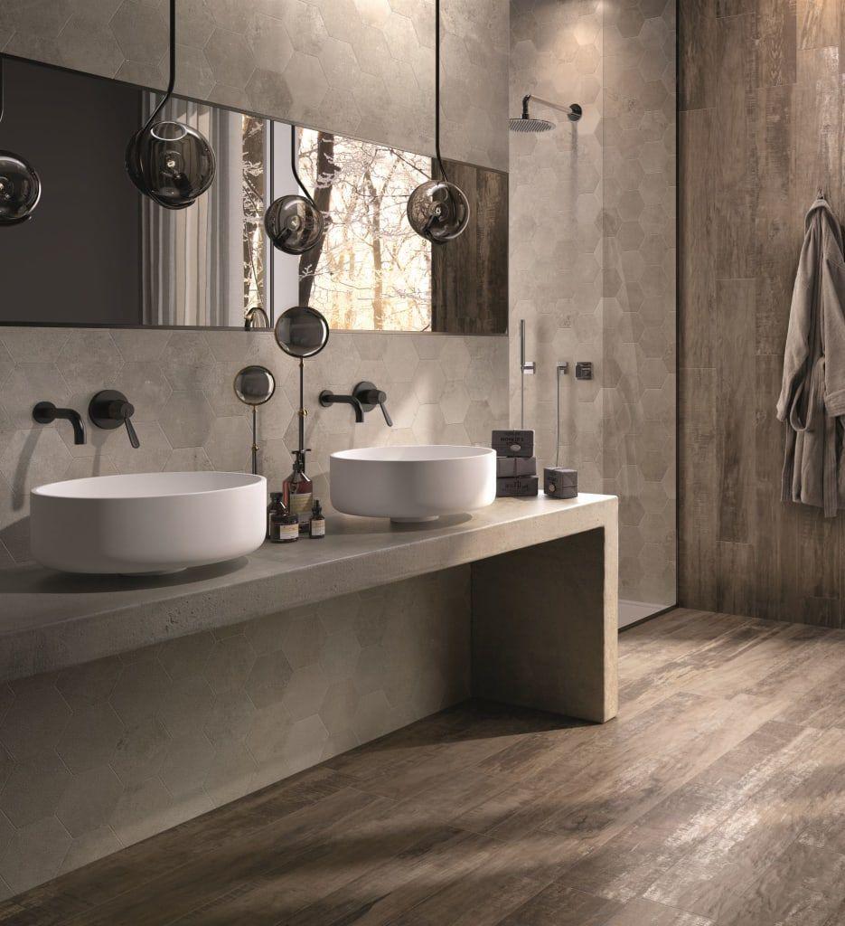 Holzoptikfliesen im badezimmer moderne badezimmer von ...