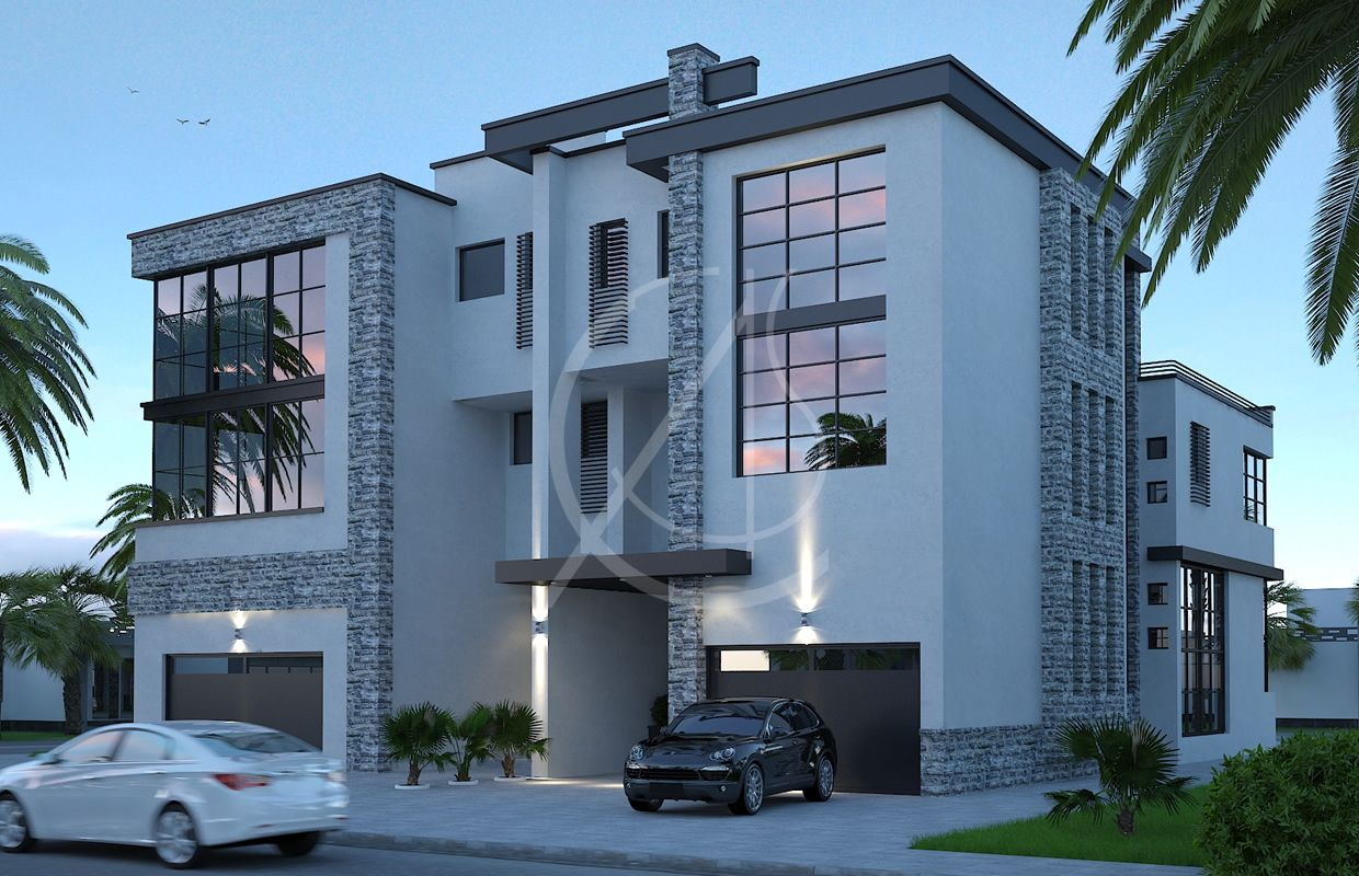 3 story modern house design by comelite architecture structure and interior design the twin villa entrances are recessed and covered