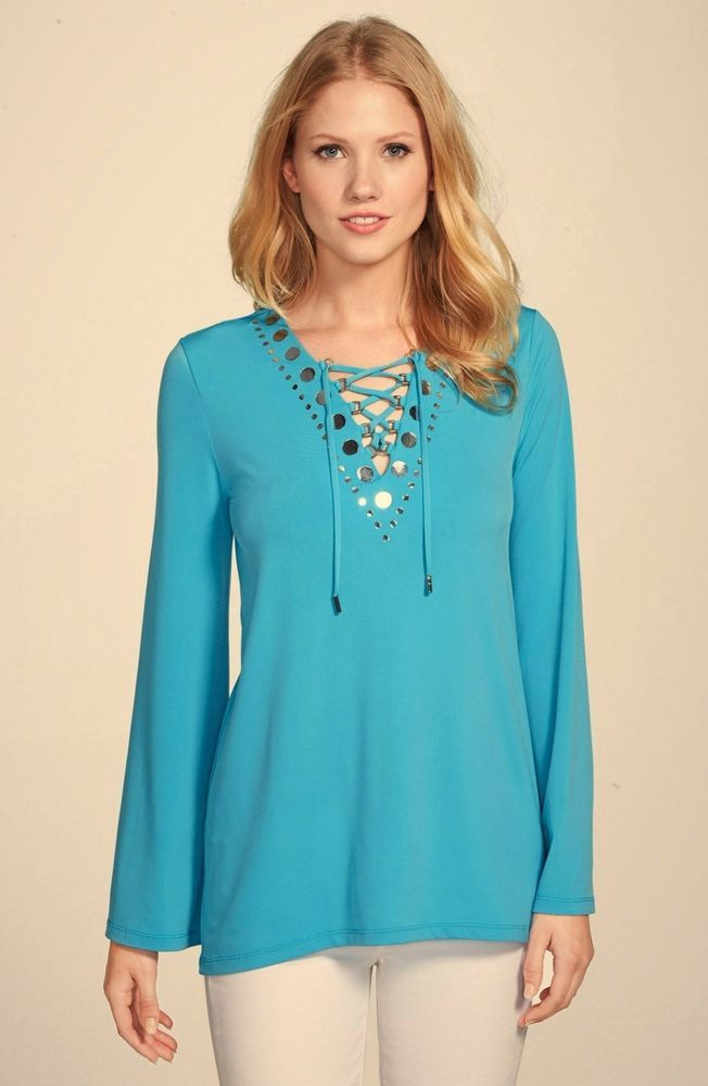 dffa7df637 New Michael Kors Lace Up Tunic With Mirror Stud Trim Peacock Blue Size M   MichaelKors  Tunic