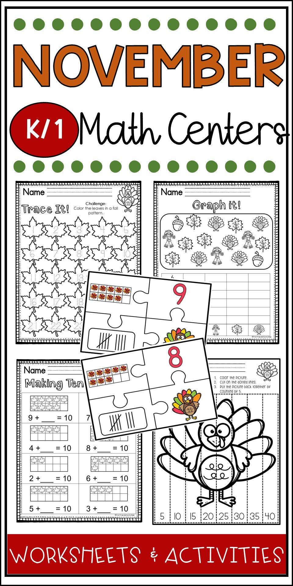 November Math Centers Kindergarten First Grade