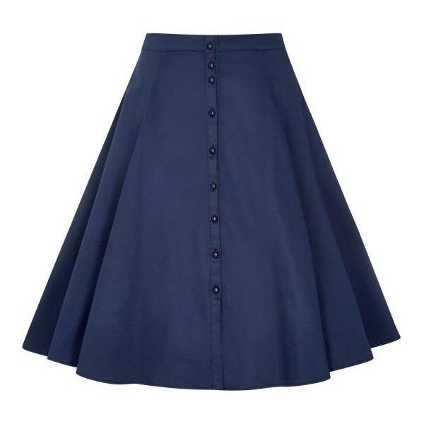 Nani Plain Swing Skirt (4.930 RUB) ❤ liked on Polyvore featuring skirts, blue skirt, blue swing skirt, flippy skirt and swing skirt