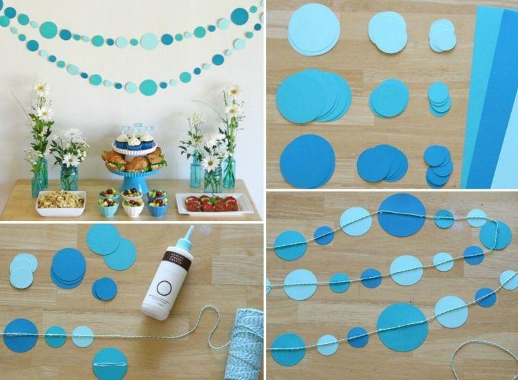 Party Deko Ideen Zum Selbermachen Anleitung Ande Blau Punkte Einfach
