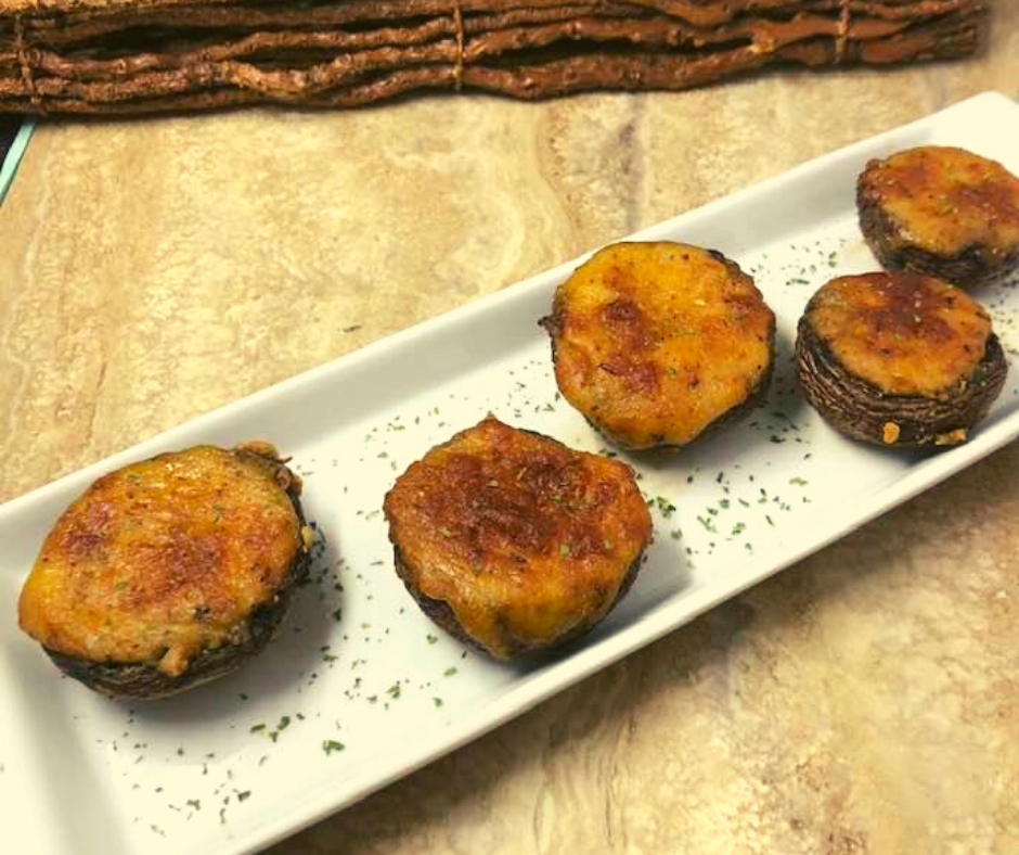 Air Fryer, Baby Bell Mushrooms Stuffed with Cheese and