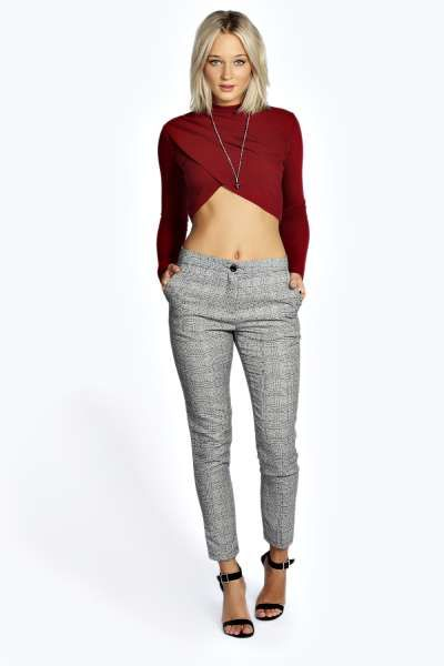 def4008fb5c5 Hazel Fine Check Woven Trouser at boohoo.com | Fashion | Trousers ...