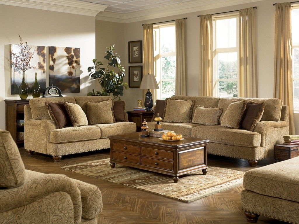 Fascinating Living Room Designs In Vintage Style : Fascinating Ashley  Stansberry Vintage Living Room Design With Light Brown Motif Sectional Sofa  And ...