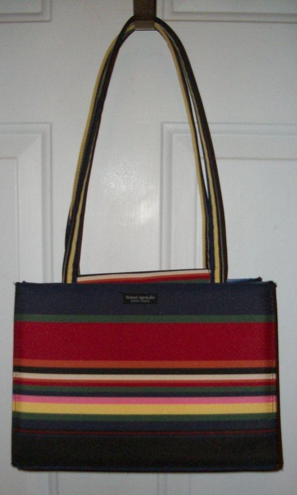 Kate Spade Multi Color Stripes Rainbow Canvas Purse Handbag Tote Brass Feet Katespade Shoulderbag Counterfeit